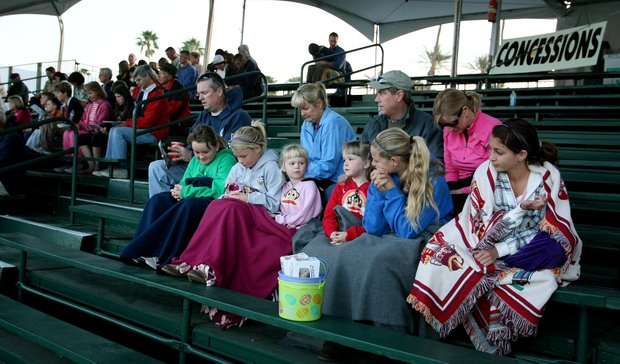 Families gathered for sunrise Easter service at the 18th green.