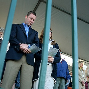 LPGA Commissioner Mike Whan joined players and spectators in the stands at No. 18 for Easter Sunday service.