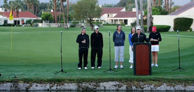 Kraft defending champion Brittany Lincicome address the crowd along with other LPGA players during Easter Sunday Service.