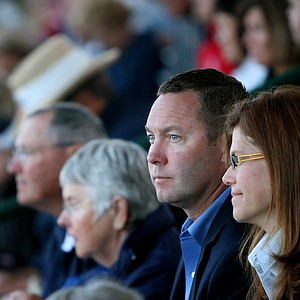 LPGA Commissioner Mike Whan joined the crowd in the 18th grandstand for Easter Sunday Service.