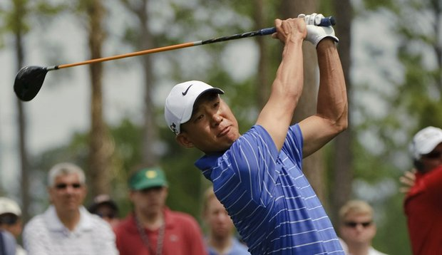 Anthony Kim hits a drive at No. 4 during the final round of the Shell Houston Open.