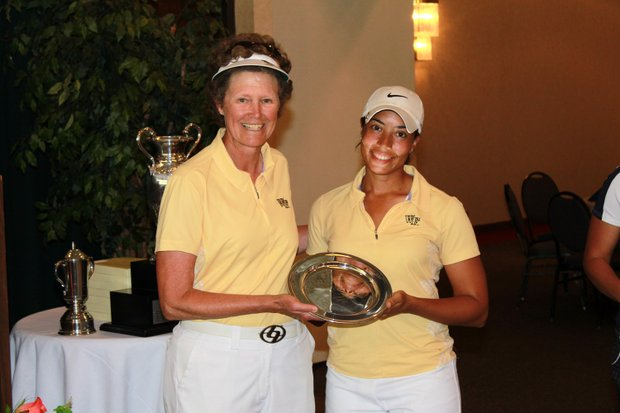 Wake Forest coach Dianne Dailey (left) and Cheyenne Woods at the Bryan National Collegiate.