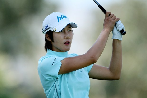 Song-Hee Kim hits her tee shot at No. 6.