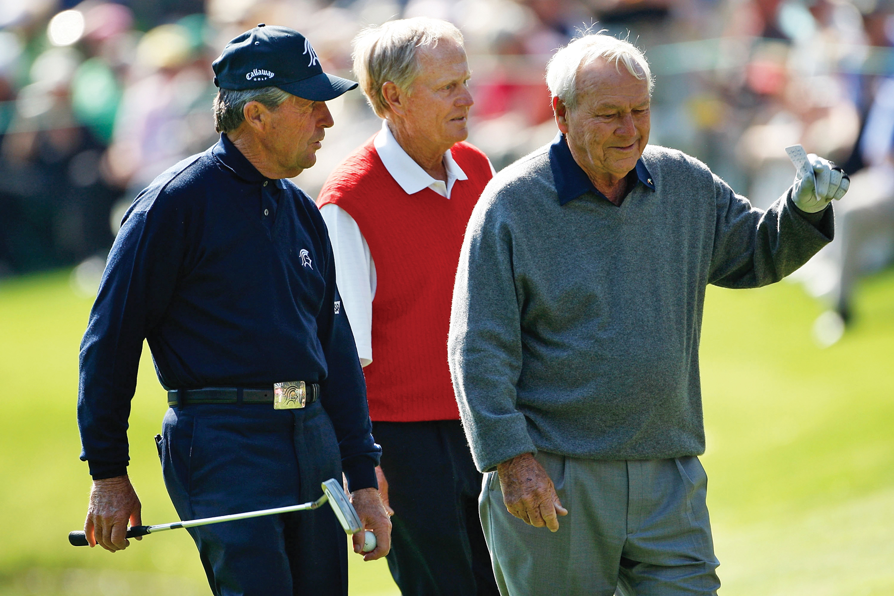 For the first time since 1954, the Masters will be played without Gary Player (left), Jack Nicklaus or Arnold Palmer in the starting field.