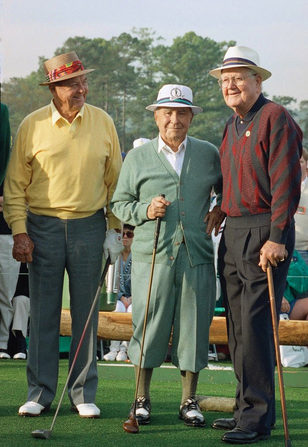 Sam Snead (left), Gene Sarazen and Byron Nelson served as honorary starters together at the Masters beginning in 1984.
