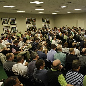 A crowd of reporters attended Monday afternoon's press conference with Tiger Woods.