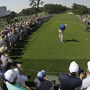 Ernie Els hits a tee shot at No. 8 Tuesday at Augusta.