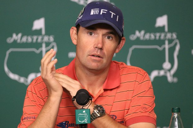 Padraig Harrington speaks the media during his Tuesday press conference at the Masters.