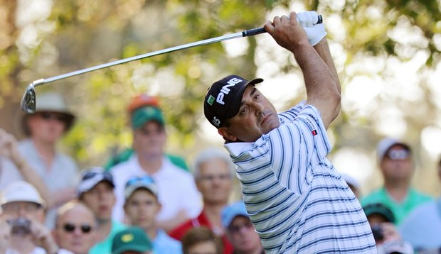 Defending champion Angel Cabrera during a Masters practice round Tuesday at Augusta National.