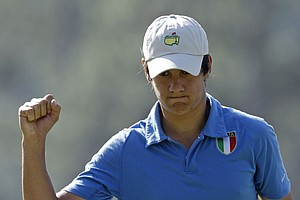 Sixteen-year-old Italian amateur Matteo Manassero pumps his fist after making birdie on the first green.