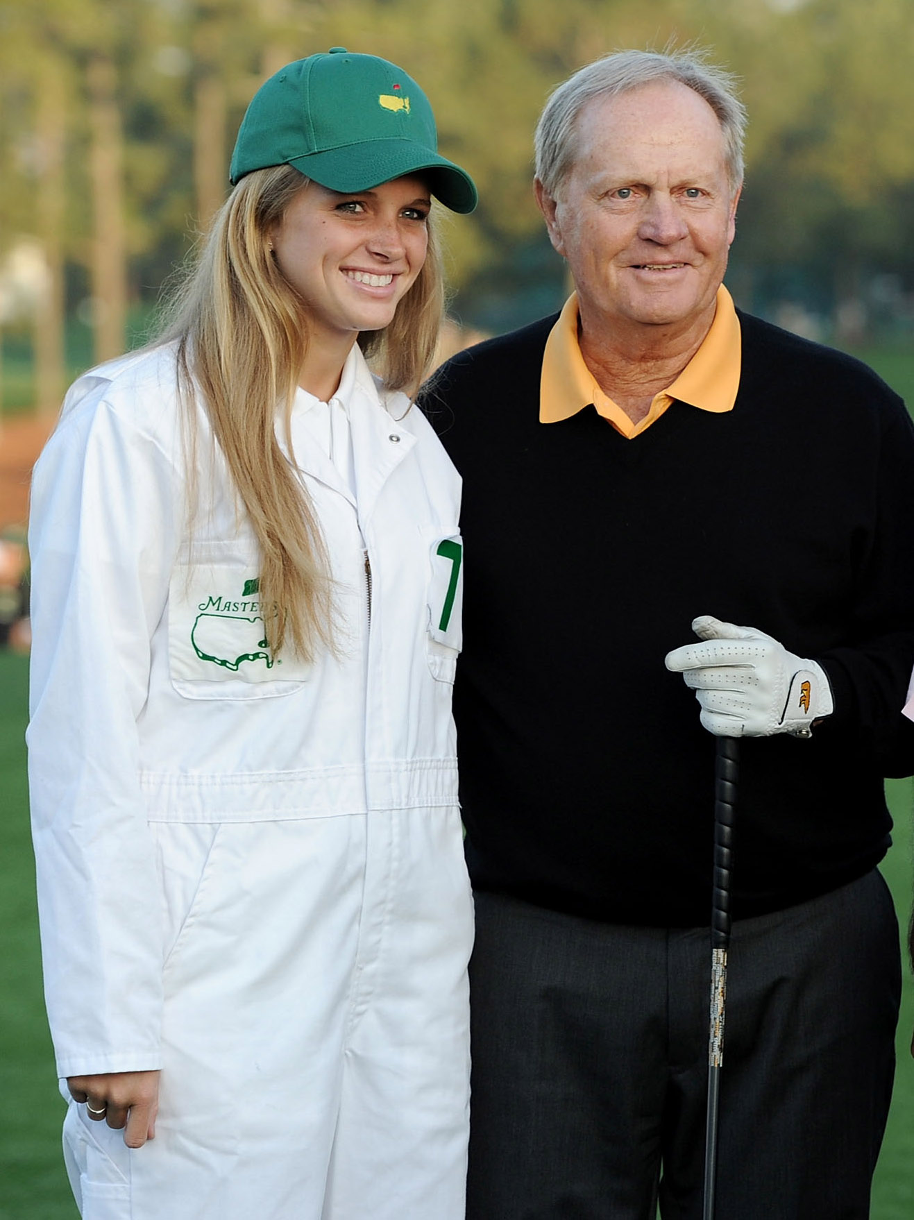 Jack Nicklaus and his granddaughter Christie, before his opening tee shot at the Masters.