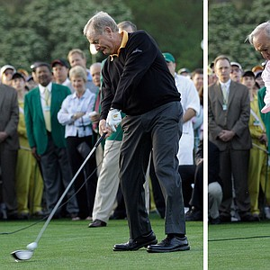 Jack Nicklaus, left, and Arnold Palmer hit the ceremonial first tee shots Thursday.