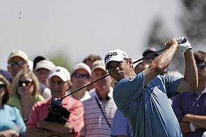 Lee Westwood tees off at the seventh hole during the second round of the Masters.