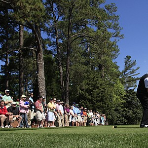 Miguel Angel Jimenez tees off at the sixth hole during Round 2 of the Masters.