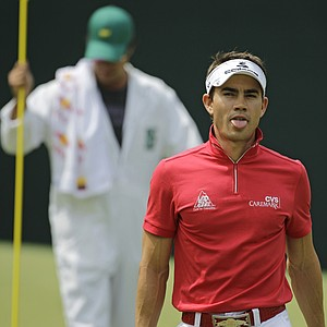 Camilo Villegas reacts to a putt on the fifth hole Saturday at Augusta.