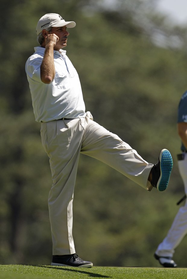 Fred Couples celebrates after making birdie on the third hole Sunday at the Masters.