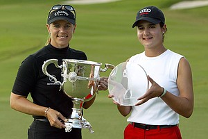 Annika Sorenstam (L) of Stockholm, Sweden holds the Player of the Year trophy and Lorena Ochoa of Guadalajara, Mexico holds the Louise Suggs Trophy awarded to the rookie of the year on November 22, 2003 at the Trump International Golf Club in West Palm Beach, Florida.