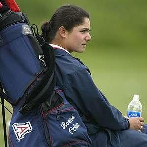 Lorena Ochoa of Arizona waits on the range during the third round of the 2002 Women's NCAA Golf Championships at Washington National Golf Club on May 23, 2002.