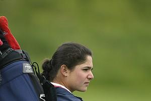 Lorena Ochoa of Arizona waits on the range during the third round of the 2002 Women's NCAA Golf Championships at Washington National Golf Club on May 23, 2002.