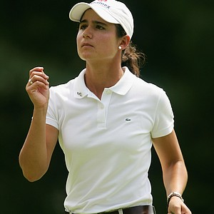 Lorena Ochoa of Mexico tosses her ball marker on the 16th green during her second round match at the HSBC Women's World Match Play Championship at Hamilton Farm Golf Club on July 7, 2006.
