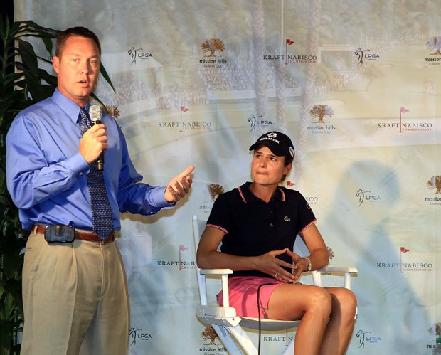 Mike Whan, the Commissioner of the LPGA talks to the media thanking  Lorena Ochoa of Mexico as she announced the establishment of the Lorena Ochoa Golf Foundation at The Mission Hills Country Club, on April 2, 2010 in Rancho Mirage, California.