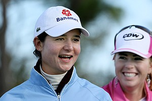 Lorena Ochoa and Paula Creamer share a laugh during the Annika Celebration at Ginn Reunion Resort in 2009.