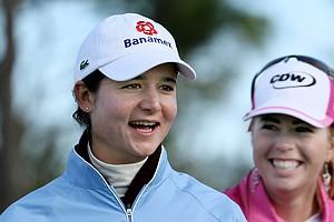 Lorena Ochoa and Paula Creamer share a laugh during the Annika Celebration at Ginn Reunion Resort in 2009.