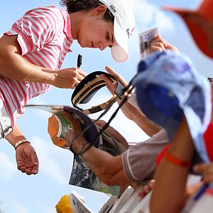 Leading after the third round Lorena  Ochoa signs autographs at the LPGA Ginn Open at Reunion Resort, Saturday  April 19, 2008.