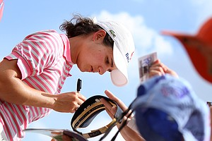 Leading after the third round Lorena  Ochoa signs autographs at the LPGA Ginn Open at Reunion Resort, Saturday  April 19, 2008.