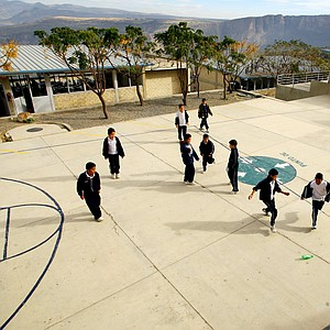 Children of the education center of La Barranca play games in the courtyard of the small school funded by Lorena Ochoa.