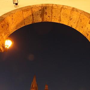 Guadalajara's historic city center at night.