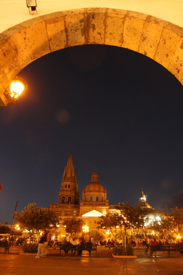 Guadalajara's historic city center at night.