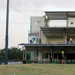 A double decker driving range in the center that houses Lorena Ochoa's Golf Academy in Guadalajara, Mexico.