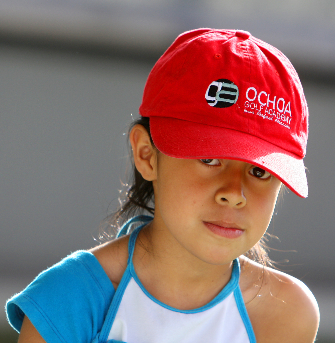 Nayelli Jazmin Gonzalez Gutierrez, 8, sports a Ochoa Golf Academy hat while practicing at the La Barranca School.