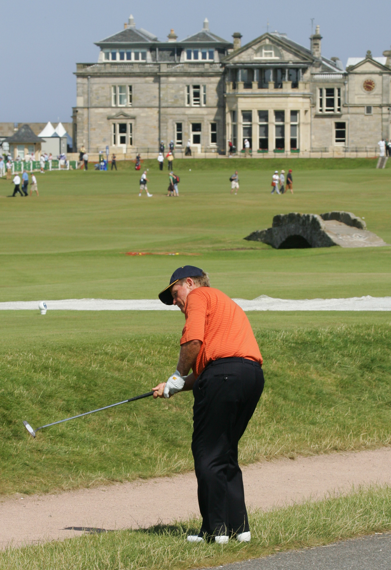 Jack Nicklaus plays from just off the 17th green during a practice round for the 2005 British Open at St. Andrews.