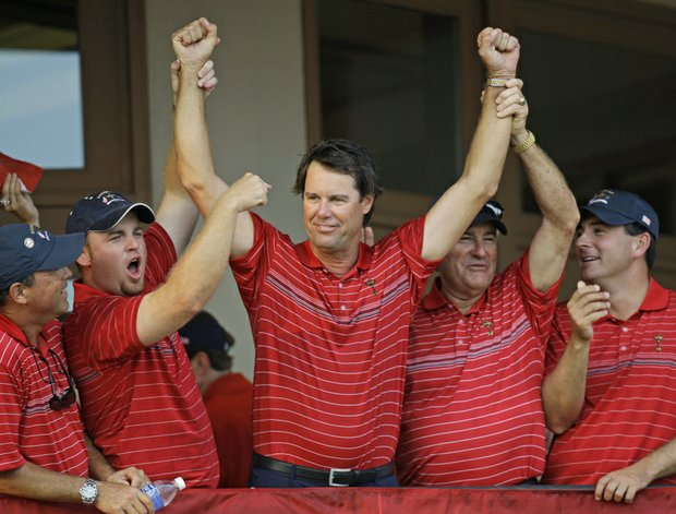 Paul Azinger celebrates with Team USA after winning the 2008 Ryder Cup.
