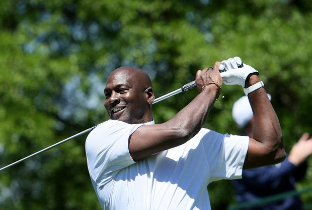 NBA Hall of Famer and owner of the Charlotte Bobcats Michael Jordan played with Fred Couples on Wednesday at Quail Hollow.