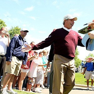 Fred Couples on the way to the first tee during the Quail Hollow Championship pro-am.