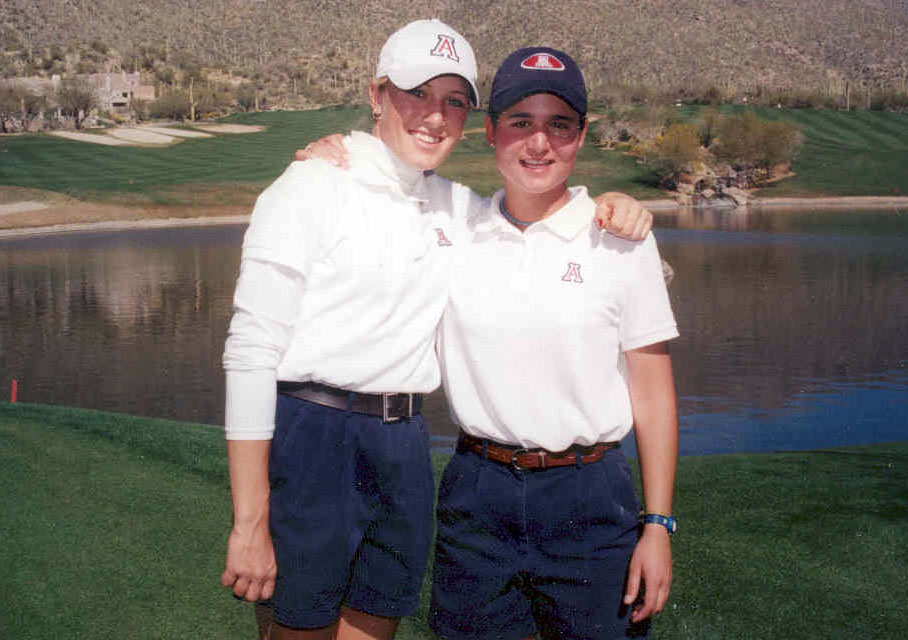 Natalie Gulbis, left, and Lorena Ochoa pose for a photo during their college days at Arizona.