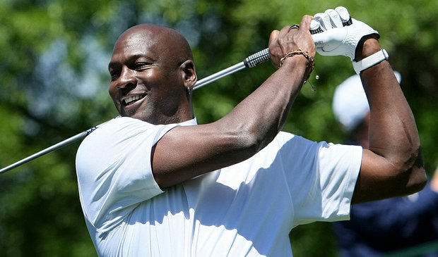 Michael Jordan at the Quail Hollow Championship pro-am on April 28.