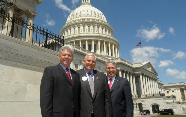 (Left to right) PGA of America President Jim Remy, PGA of America Vice President Allen Wronowski and PGA of America CEO Joe Steranka during the observance of National Golf Day in Washington, D.C., April 28.
