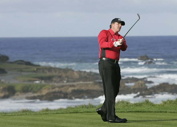 Phil Mickelson hits from the fourth tee during the 2009 AT&T Pebble Beach National Pro-Am.