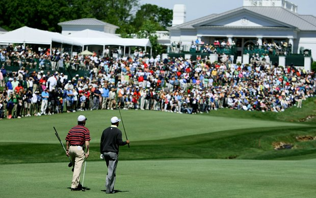 Tiger Woods on No. 18 at Quail Hollow with his equipment rep Rick Nichols of Nike.