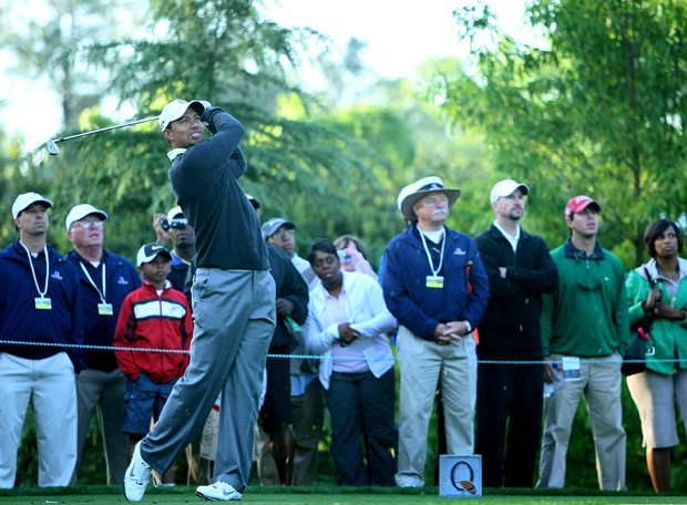Tiger Woods tees of April 28 at the Quail Hollow Championship pro-am.