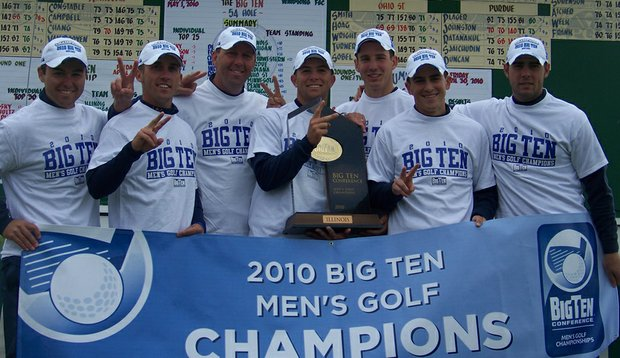 Illinois with the Big Ten Championship trophy.