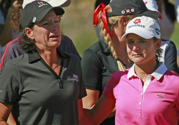 Juli Inkster and Lorena Ochoa during an event honoring Ochoa at the Tres Marias Championship.