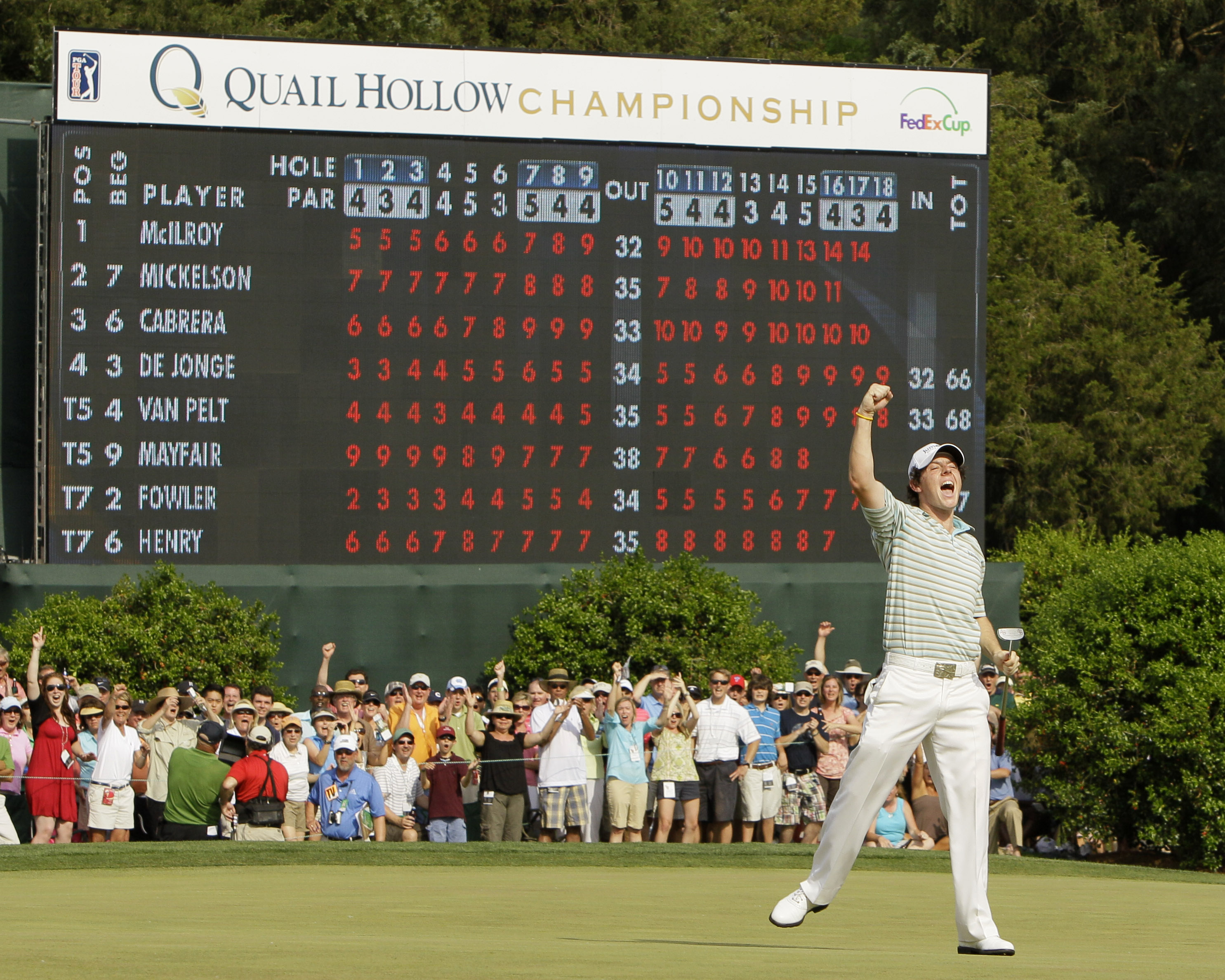 Rory McIlroy reacts after making a birdie putt on the 18th hole during the final round of the Quail Hollow Championship.