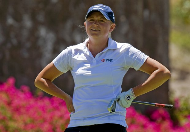 Stacy Lewis reacts after her tee shot on the sixth hole during the final round of the Tres Marias Championship.