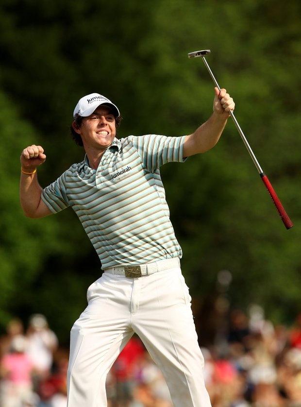 Rory McIlroy celebrates his first PGA Tour victory at Quail Hollow.