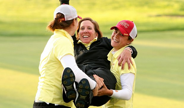 USC coach Andrea Gaston celebrates after winning the 2008 NCAA Women's Championship.